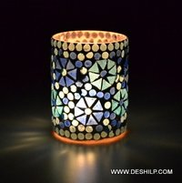 Blue Mosaic Colorful Glass Candle Holder