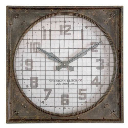 Brown Square Wall Clock