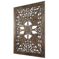 Hand Carved Wooden Wall Panel With Flower Design