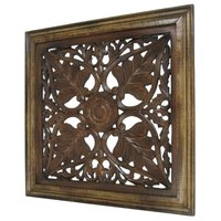 Flower Design Hand Carved Wooden Wall Hanging