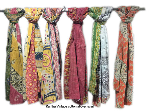 Kantha Cotton  Printed Scarves