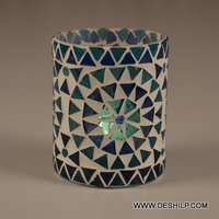Antique Mosaic Glass Candle Holder