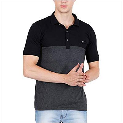 Men Black Collar T Shirt