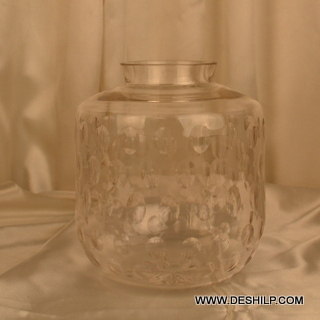 Big Cutting Glass Jar Shape Flower Vase