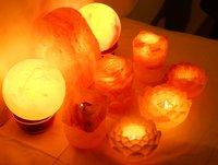 Rock Salt Lotus Candle Lamp
