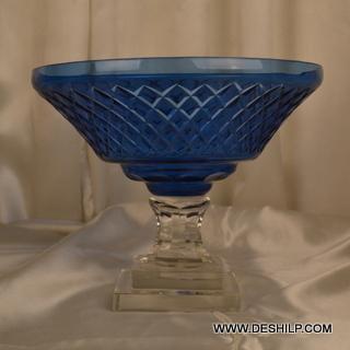 Blue Color Glass Pillar Hurricane Candle