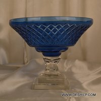 Blue Color Glass Pillar Hurricane Candle