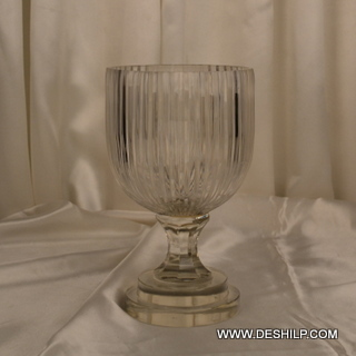 Cut Glass Hurricane Candle Holder