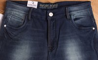 Narrow Fit Dark Blue Dobby Denim Jeans
