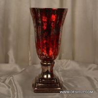 Silver Glass Red Color Hurricane Candle Holder