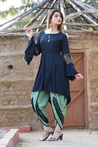 Rayon Designer Kurti With Dhoti - Party Wear Collection