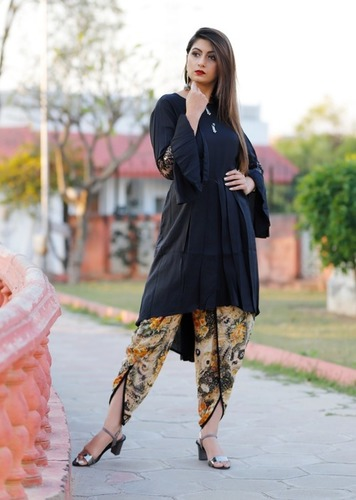 Rayon Designer Kurti With Printed Dhoti - Party Wear Collection