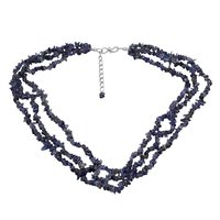 925 Sterling Silver Handmade Jewelry Manufacturer 3 Layer Strand Blue Iolite Jaipur Rajasthan India Single Chips Necklace