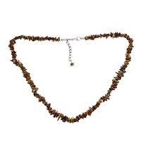 Brown Tiger Eye Chips, Handmade Jewelry Manufacturer 925 Sterling Silver Single Strand, Jaipur Rajasthan India Chain Necklace