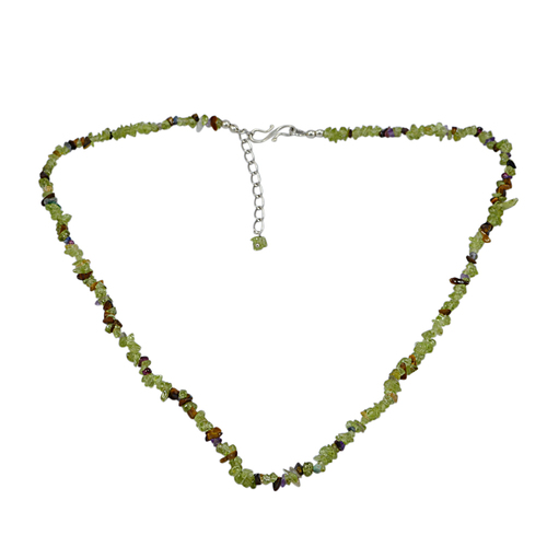 Uncut Peridot, Jaipur Rajasthan India Amethyst & Tiger Eye 925 Sterling Silver Handmade Jewelry Manufacturer Simple Chain Necklace