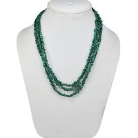 S-Hook- Jaipur Rajasthan India 925 Sterling Silver- 3 Strand- Green Malachite- Handmade Jewelry Manufacturer Chips Necklace