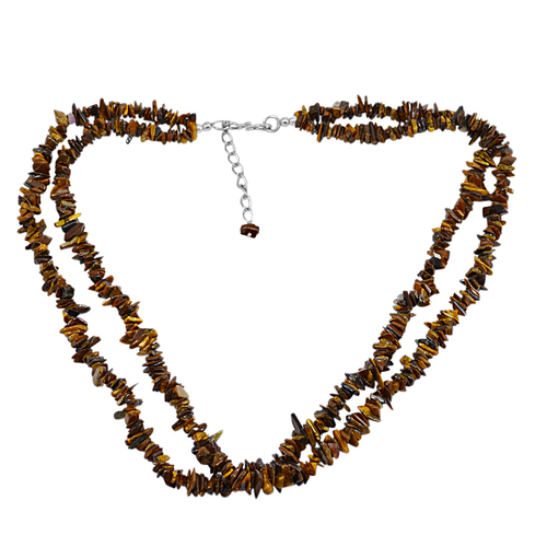 2 Layer Strand 925 Sterling Silver Jaipur Rajasthan India Uncut Brown Tiger Eye Handmade Jewelry Manufacturer Chips Necklace