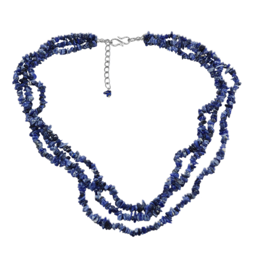 Multi Strand- Handmade Jewelry Manufacturer Uncut Blue Sodalite- 925 Sterling Silver- Jaipur Rajasthan India Rolo-Chain Chips Necklace