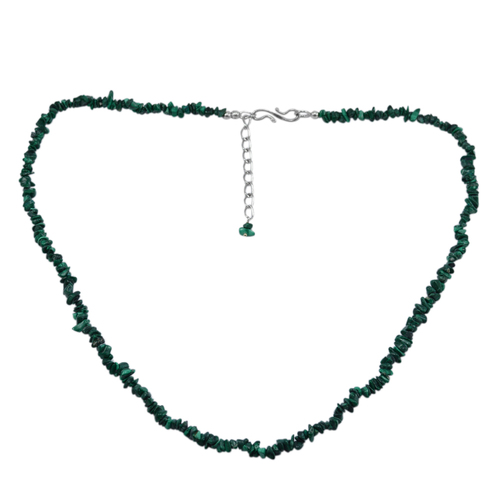Handmade Jewelry Manufacturer 925 Sterling Silver, S-Hook, Uncut Malachite, Rolo-Chain, Single Strand Necklace Jaipur Rajasthan India
