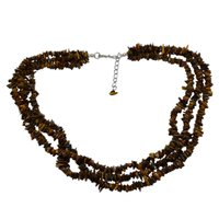 Rough Tiger Eye- Handmade Jewelry Manufacturer 925 Sterling Silver- 3 Strand- Rolo-Chain- Jaipur Rajasthan India Chips Necklace