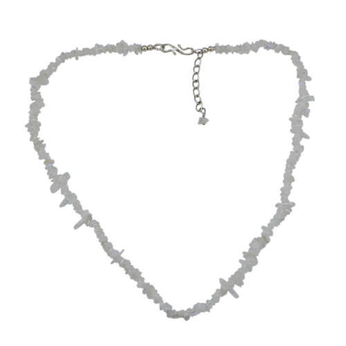 925 Sterling Silver- Handmade Jewelry Manufacturer Single Strand - White Rough Rainbow Moonstone - Jaipur Rajasthan India Chips Necklace