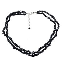 2 Layer Strand Handmade Jewelry Manufacturer 925 Sterling Silver Uncut Rough Snowflake Obsidian Jaipur Rajasthan India Chips Necklace