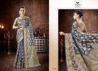 Partywear Jacquard Silk Saree, Silk Saree, Bridal Saree