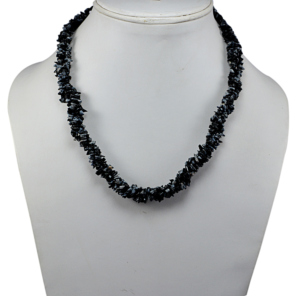 Handmade Jewelry Manufacturer S-hook, Rolo-Chain, 925 Sterling Silver , Uncut Jaipur Rajasthan India Snowflake Obsidian Chips Necklace