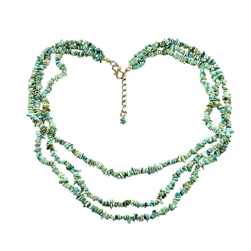 Jaipur Rajasthan India Uncut Chips Turquoise - 925 Sterling Silver - 3 Layer Strand - Long Necklace Handmade Jewelry Manufacturer