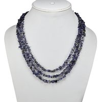 3 Layer Strand - Handmade Jewelry Manufacturer 925 Sterling Silver - Blue Iolite - S-Hook - Jaipur Rajasthan India Rolo-Chain - Chips Necklace