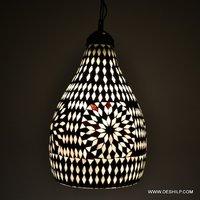 BLACK & WHITE MOSAIC HANGING WALL LAMP