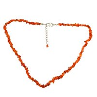 925 Sterling Silver, Handmade Jewelry Manufacturer Orange Uncut Rough Carnelian, Jaipur Rajasthan India Single Strand Necklace