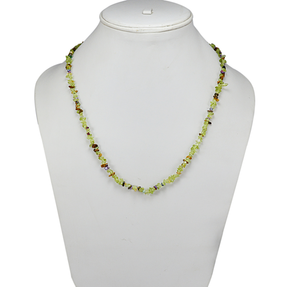 Uncut Rough Peridot, Handmade Jewelry Manufacturer Amethyst & Tiger Eye Jaipur Rajasthan India 925 Sterling Silver Chips Necklace
