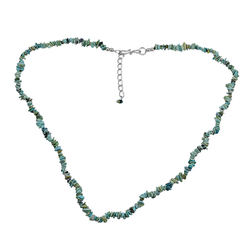 Uncut Turquoise Handmade Jewelry Manufacturer 925 Sterling Silver Beautiful Jaipur Rajasthan India Single Strand Chips Necklace
