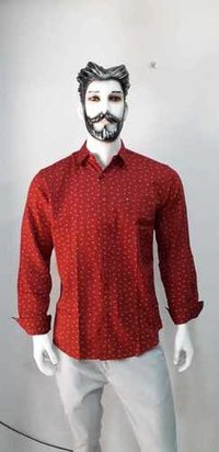 MAROON RED PRINTED SHIRT