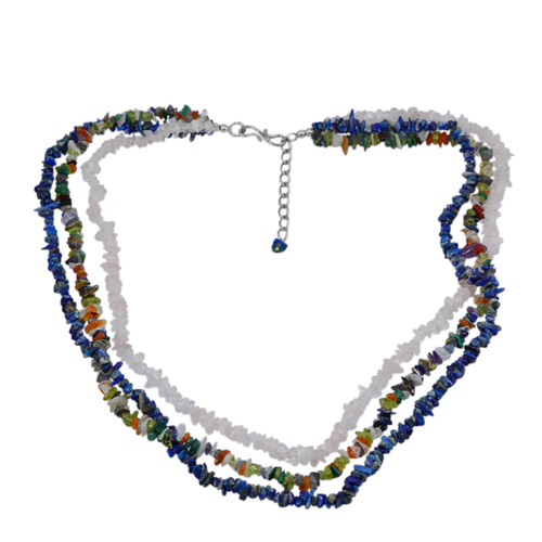 Handmade Jewelry Manufacturer Rolo-Chain, S-Hook, 925 Sterling Silver, 3 Layer Strand Jaipur Rajasthan India Multi Gemstone Necklace