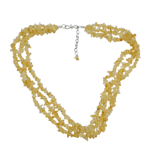 Jaipur Rajasthan India November Birthstone Yellow Uncut Citrine, 925 Sterling Silver, Rolo-Chain, Handmade Jewelry Manufacturer Chips Necklace