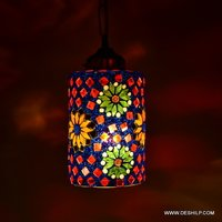 Red And Blue Mosaic Wall Hanging Lamp