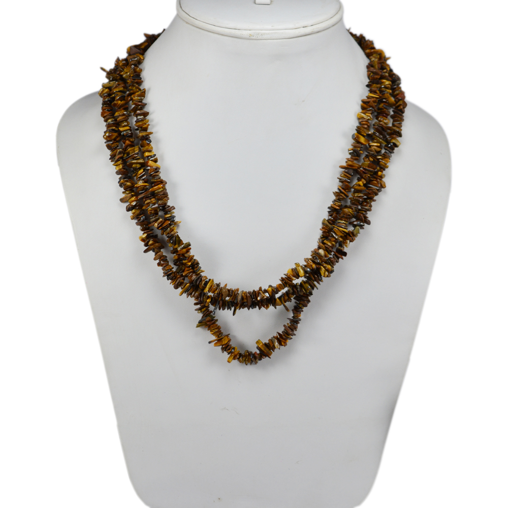 3 Layer Strand Jaipur Rajasthan India Tiger Eye 925 Sterling Silver Rolo-Chain Handmade Jewelry Manufacturer Chips Necklace