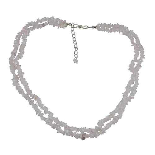 Jaipur Rajasthan India 2 Layer Strand- 925 Sterling Silver - Rolo-Chain- Handmade Jewelry Manufacturer Rose Quartz- Chips Necklace