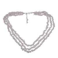 925 Sterling Silver Rolo-Chain, Handmade Jewelry Manufacturer 3 Layer Strand, Pink Rose Quartz Chips Necklace Jaipur Rajasthan India