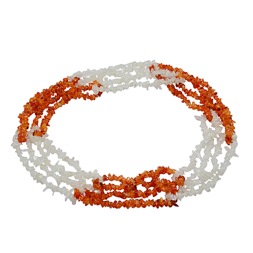 Uncut Rough Jaipur Rajasthan India Carnelian & Rainbow Moonstone 2 Color Tone Handmade Jewelry Manufacturer Chips Necklace