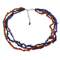 Uncut Carnelian, Jaipur Rajasthan India Sodalite & Amethyst 3 Layer Strand Chips Necklace Handmade Jewelry Manufacturer 925 Sterling Silver Jeweley