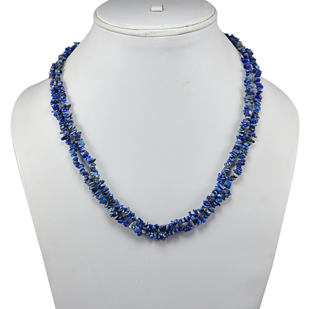 2 Layer Strand Handmade Jewelry Manufacturer 925 Sterling Silver Deep Blue Uncut Sodalite Jaipur Rajasthan India Gorgeous Chips Necklace