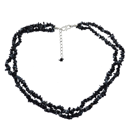 925 Sterling Silver Uncut Rough Black Handmade Jewelry Manufacturer Snowflake Obsidian Awesome 2 Layer Strand Chips Necklace Jaipur Rajasthan India