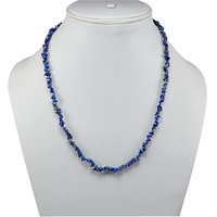 925 Sterling Silver, Handmade Jewelry Manufacturer Uncut Blue Sodalite Chips, Jaipur Rajasthan India Single Strand Necklace