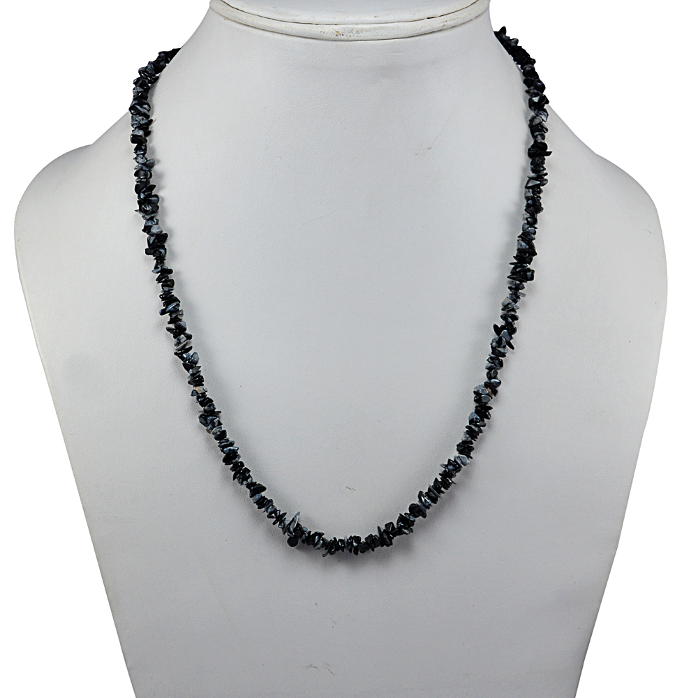 Handmade Jewelry Manufacturer Single Strand Chips Necklace 925 Sterling Silver With Jaipur Rajasthan India Black Snowflake Obsidian