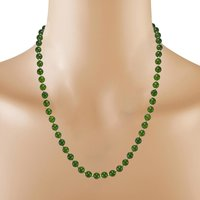 925 Sterling Silver, Handmade Jewelry Manufacturer 6mm Beaded Olive Green Jade, Jaipur Rajasthan India Necklace & Earring Set