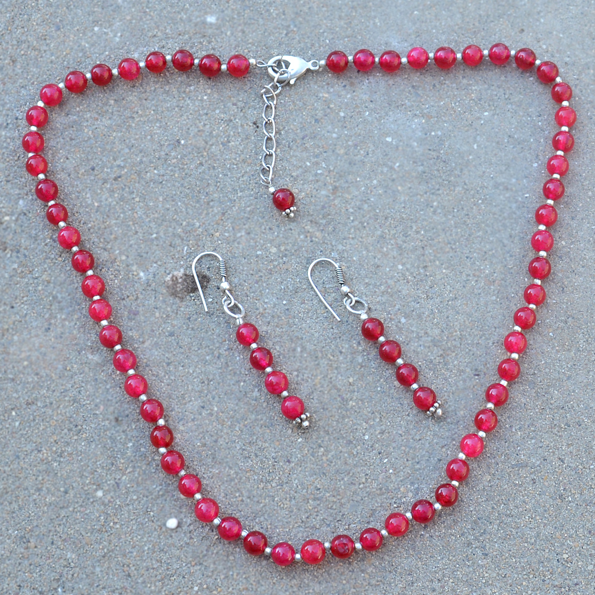 Lobster-Claw, Handmade Jewelry Manufacturer 925 Sterling Silver , 6mm Round Beaded Pink Quartz, Jaipur Rajasthan India Layering Necklace Set