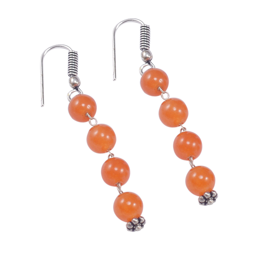 925 Sterling Silver 6mm Jaipur Rajasthan India Round Beaded Carnelian Rolo-Chain Handmade Jewelry Manufacturer Necklace & Earring Set